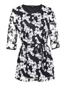 IZABEL Black Floral Lace Longline Top