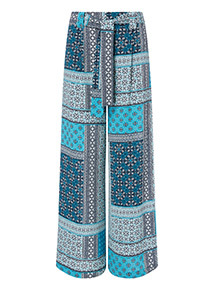 Multicoloured Mosaic Print Palazzo Trousers