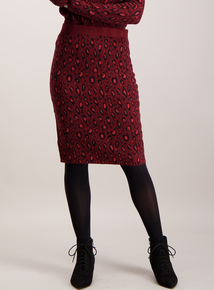 Dark Red Leopard Print Knitted Skirt