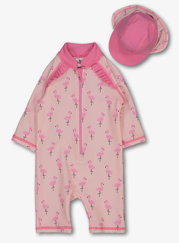 a27906585b8bb Holiday Shop Pink Flamingo Sunsafe Swimsuit With Hat (0-3 Years) | Tu  clothing