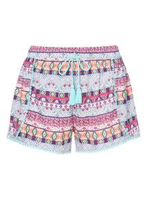 Multicoloured Tribal Print Shorts
