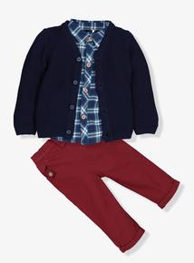 Multicoloured Cardigan, Shirt & Trousers Set (0-24 Months)