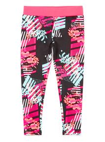 Multicoloured Floral Printed Dance Leggings (3-14 years)