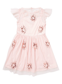 Pink Sequin Mesh Dress (9 months-6 years)