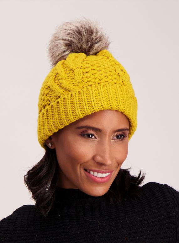Womens Yellow Cable Knit Pom-Pom Beanie Hat  284f3394dd1