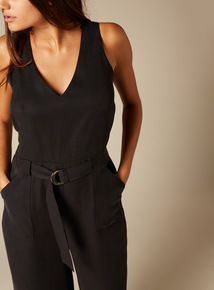Premium Tencel Belted Jumpsuit