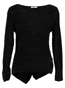 Black Chenille Wrap-Front Jumper