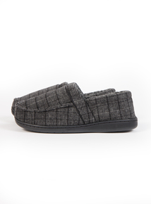 Grey Check Memory Foam Slippers