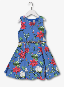 Blue Textured Floral Belted Dress (3-14 years)