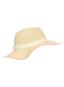 Multicoloured Oh Hey Sun Straw Floppy Hat (1 - 12 years)