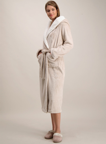 Oatmeal Hooded Fleece Long Dressing Gown