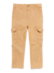 Stone Linen Cargo Trousers (9 months-6 years)