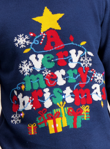 Navy Light Up Christmas Tree Jumper