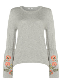 Grey Embroidered Jumper