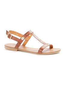'Made In Italy' Eyelet T-Bar Sandals
