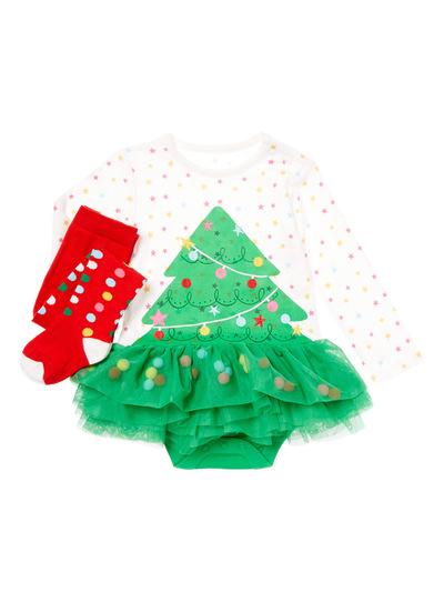 Multicoloured Christmas Tree Bodysuit (0-24 months)