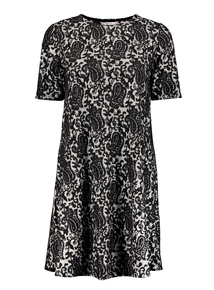 Grey Jacquard Paisley Swing Dress