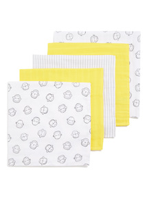 5 Pack Yellow and White Muslin Squares