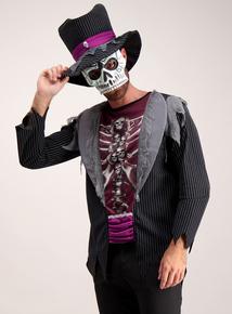 Multi-coloured Skeleton Tuxedo Adult Halloween Outfit (XS-XL)