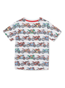 Multicoloured Motorbike Print T-Shirt (3-14 years)
