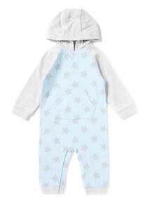 Blue Star Print Hooded Romper Suit (Newborn -12 months)