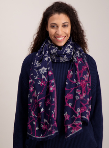 Navy Blue Floral Print Chenille Woven Scarf