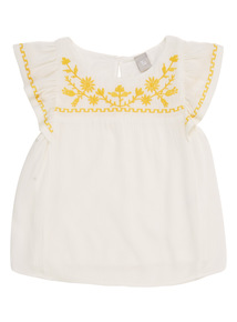 White Embroidered Top (3 - 12 years)