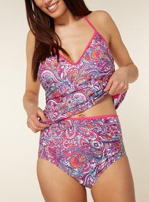 Paisley Print High Waisted Bikini Briefs