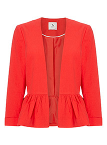 Online Exclusive Red Frill Hem Jacket