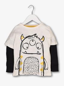 Cream Monster Print Long Sleeve T-Shirt (1- 6 years)