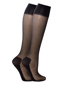 Black Cushion Sole Knee Highs 2 Pack