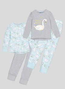 Mint Green & Grey Swan Long-Sleeved Pyjamas 2 Pack  (18 months - 12 years)
