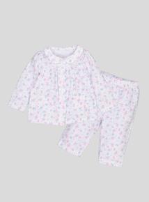 White Floral Woven Pyjamas (newborn-36 months)