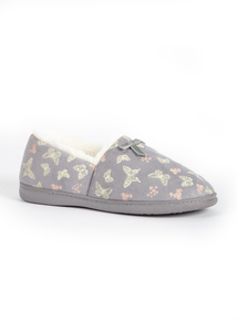Grey Butterfly Print Slippers