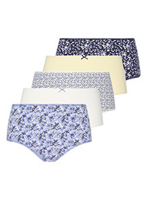 5 Pack Floral Printed Midi Briefs