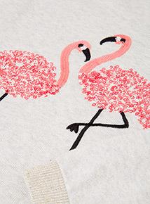 Beige Flamingo Sequin Jumper (3-14 years)