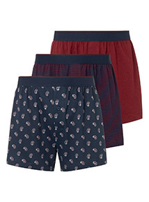3 Pack Multicoloured Printed Boxers