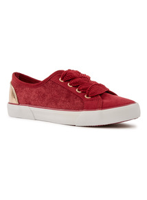 Red Mixed Material Cupsole Trainers