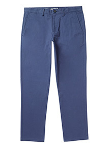 Blue Straight Fit Chinos With Stretch