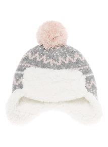 Grey Fair Isle Trapper Hat (0-24 months)