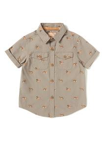 Brown Animal Safari Print Shirt (9 months-6 years)