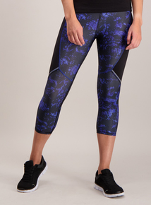 Blue Marble Print Cropped Sports Leggings