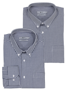 Navy Gingham Tailored Fit Button Down Shirts 2 Pack