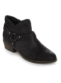 Black Low Ankle Western Boots