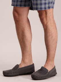 Grey Suede Moccasin Slipper