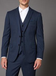 Blue Melange Slim Fit Suit Jacket