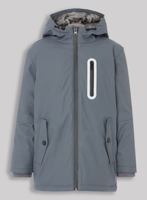Grey Padded Rubber Coat