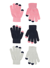 Glitter Touch Screen Magic Gloves 3 Pack