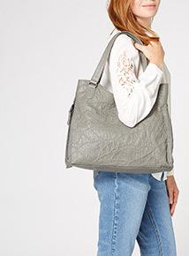 Grey Patchwork Shoulder Bag