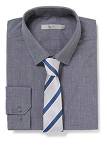 Grey Slim Fit Shirt and Stripe Tie Set
